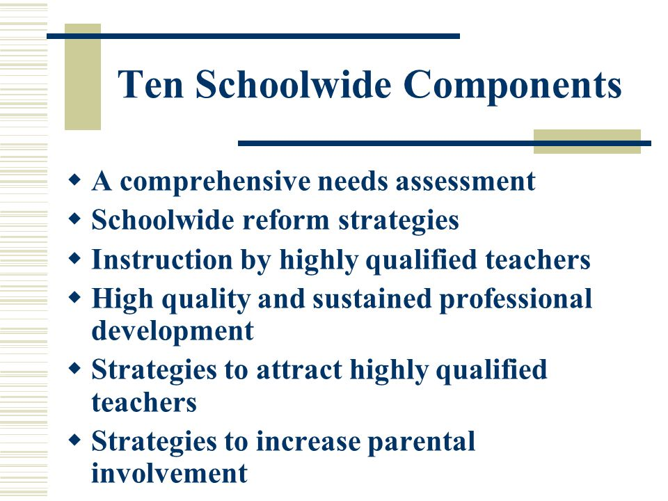 Ten Schoolwide Components  Strategies to help preschool children transition from early childhood programs  Inclusion of teachers in decisions about the use of academic assessment information for the purpose of improving student achievement  Effective, timely assistance to students who are having difficulty mastering State and local standards  Coordination and integration