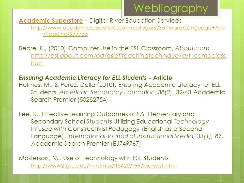 Webliography Academic SuperstoreAcademic Superstore – Digital River Education Services http://www.academicsuperstore.com/category/Software/Language+Ar