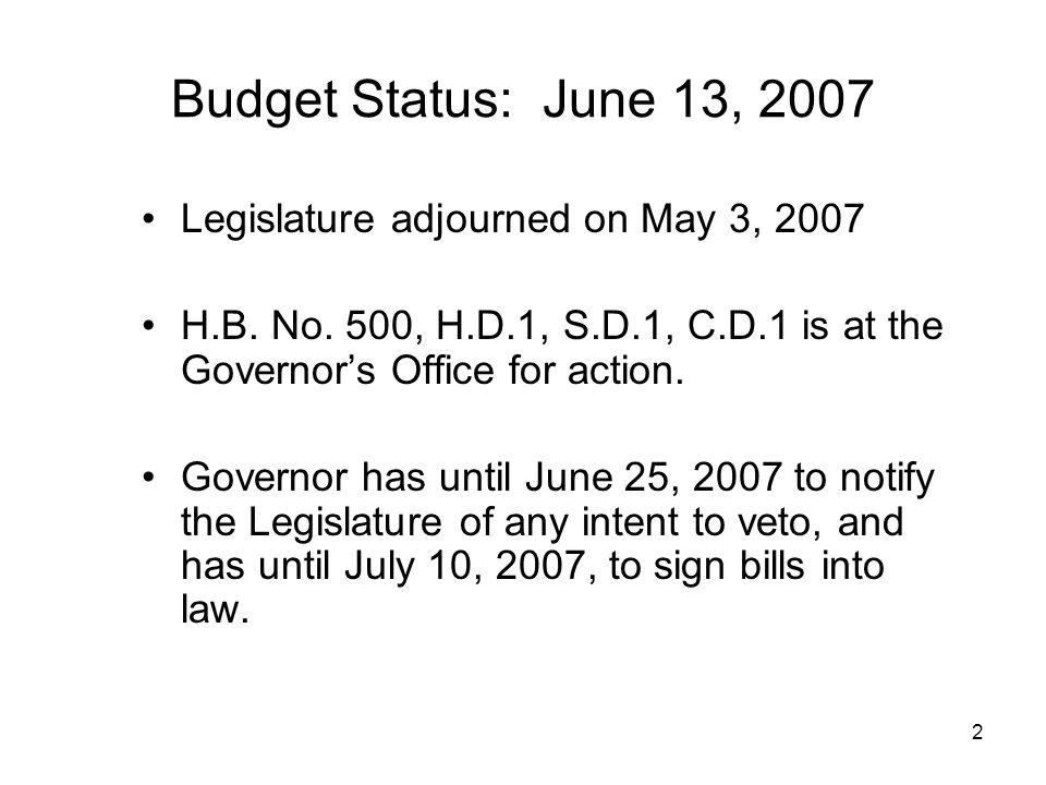 2 Budget Status: June 13, 2007 Legislature adjourned on May 3, 2007 H.B.