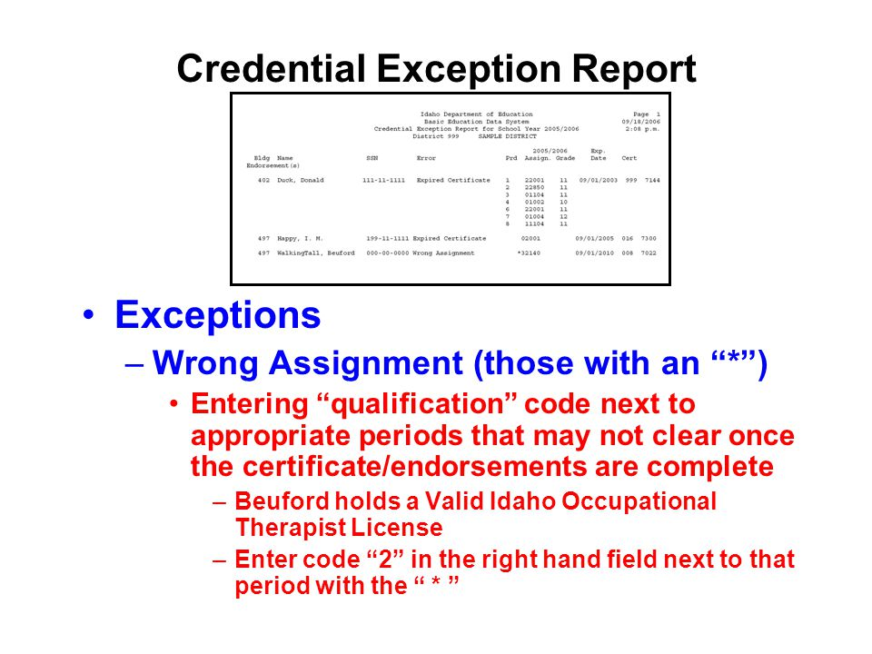 Credential Exception Report Exceptions –Wrong Assignment (those with an * ) Entering qualification code next to appropriate periods that may not clear once the certificate/endorsements are complete –Beuford holds a Valid Idaho Occupational Therapist License –Enter code 2 in the right hand field next to that period with the *