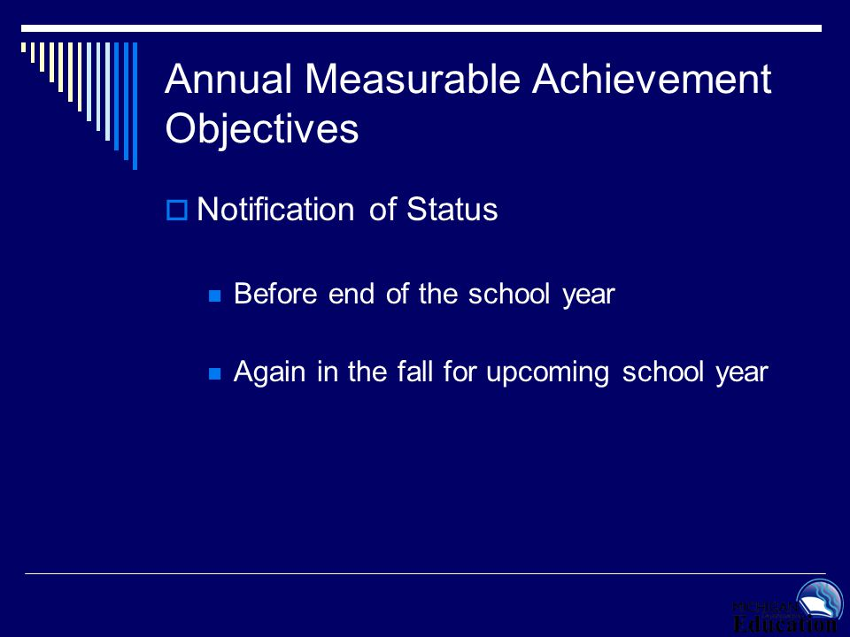Annual Measurable Achievement Objectives  Notification of Status Before end of the school year Again in the fall for upcoming school year