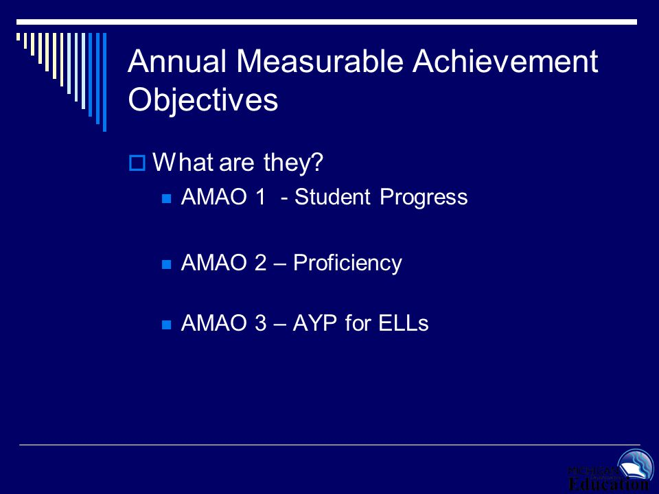 Annual Measurable Achievement Objectives  AMAO Targets Progress 95%/85%* Proficient 95%/10% AYP for ELL population – same as rest of state AYP calculations