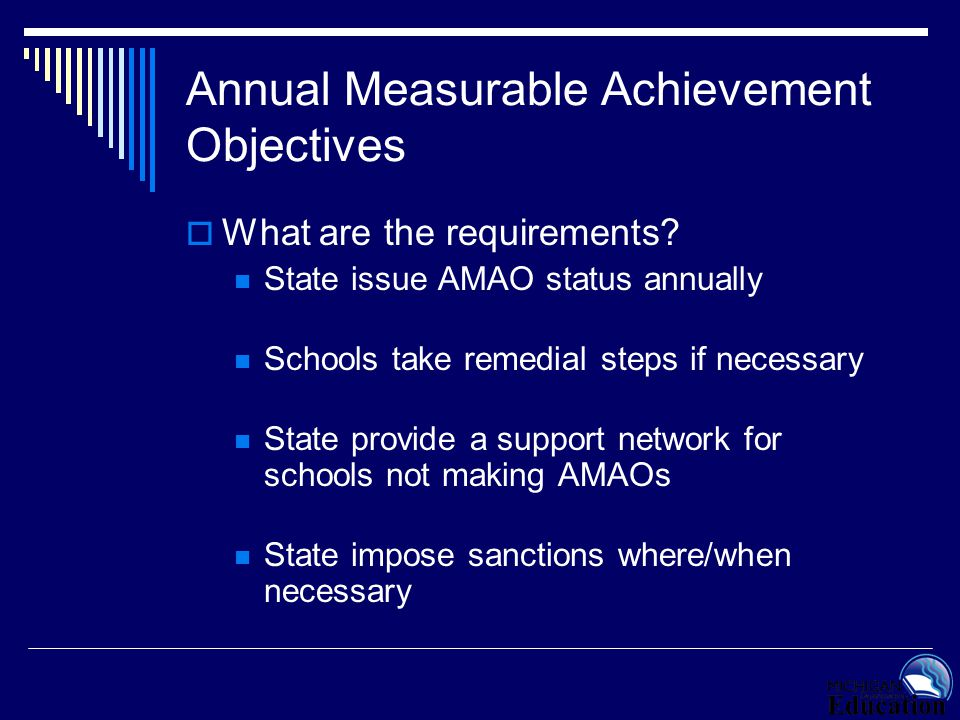 Annual Measurable Achievement Objectives  What are the requirements? State issue AMAO status annually Schools take remedial steps if necessary State