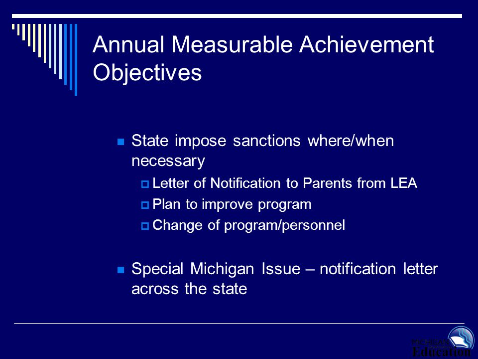 Annual Measurable Achievement Objectives State impose sanctions where/when necessary  Letter of Notification to Parents from LEA  Plan to improve pr