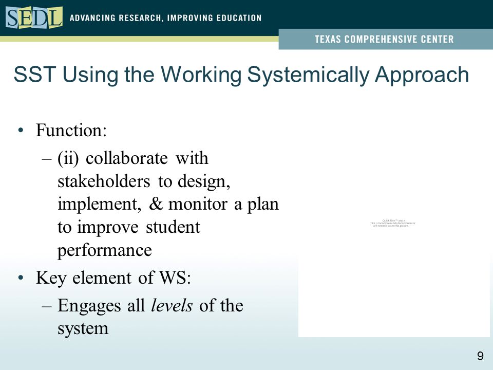 Function : –(i) review all facets of the school's operation Key element of WS: –Examines components within the system SST Using the Working Systemically Approach 8