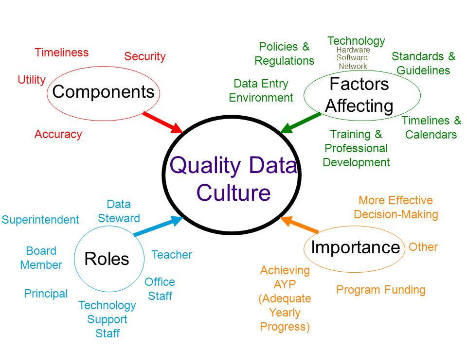 Quality Data Culture Components Importance Factors Affecting Timeliness Security Utility Accuracy Policies & Regulations Standards & Guidelines Training & Professional Development Data Entry Environment Timelines & Calendars Technology Roles Data Steward Superintendent Board Member Principal Technology Support Staff Office Staff Teacher More Effective Decision-Making Achieving AYP (Adequate Yearly Progress) Program Funding Other Hardware Software Network