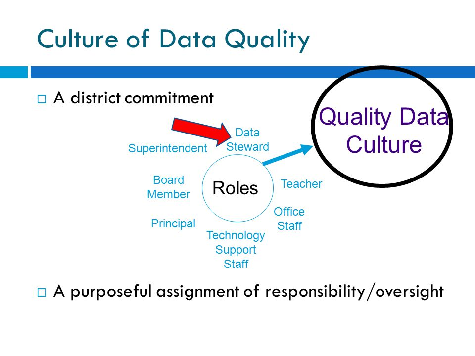 Culture of Data Quality  A district commitment  A purposeful assignment of responsibility/oversight Roles Data Steward Superintendent Board Member Principal Technology Support Staff Office Staff Teacher Quality Data Culture