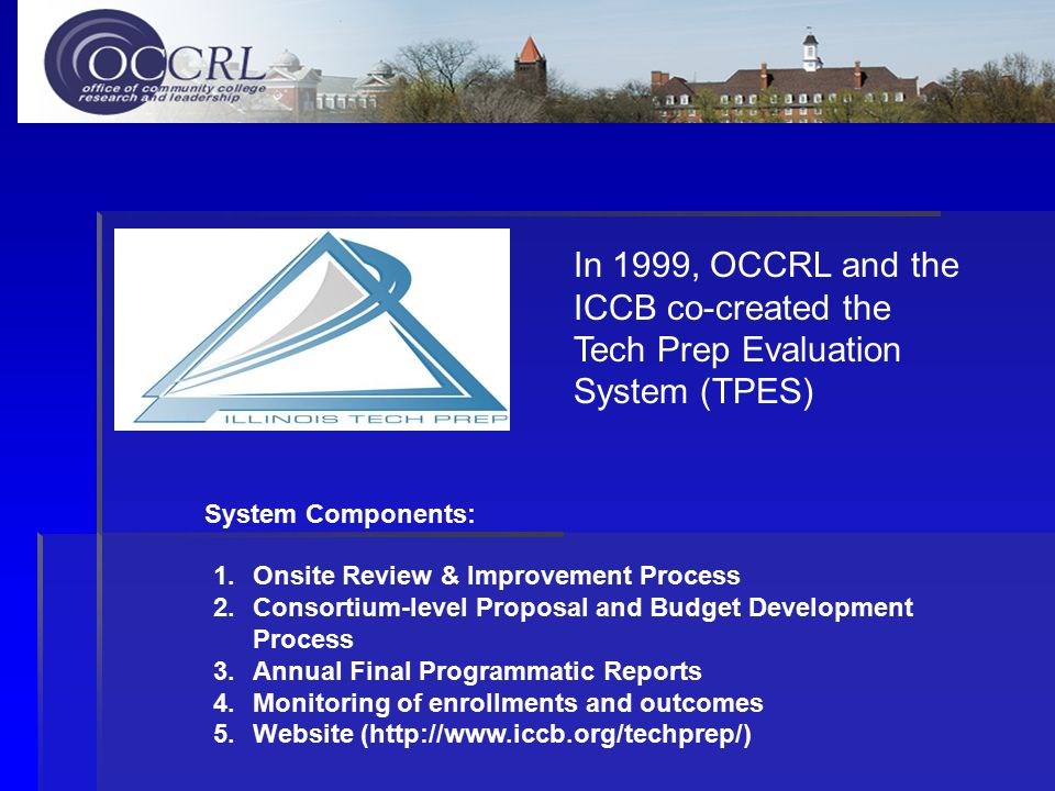 In 1999, OCCRL and the ICCB co-created the Tech Prep Evaluation System (TPES) 1.Onsite Review & Improvement Process 2.Consortium-level Proposal and Budget Development Process 3.Annual Final Programmatic Reports 4.Monitoring of enrollments and outcomes 5.Website (http://www.iccb.org/techprep/) System Components: