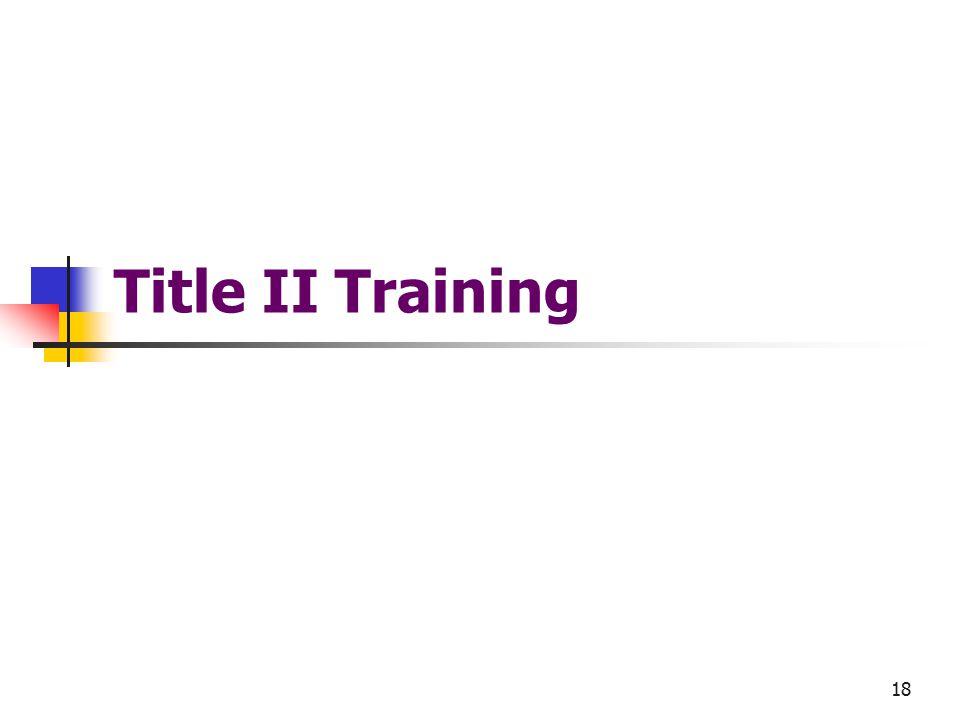18 Title II Training