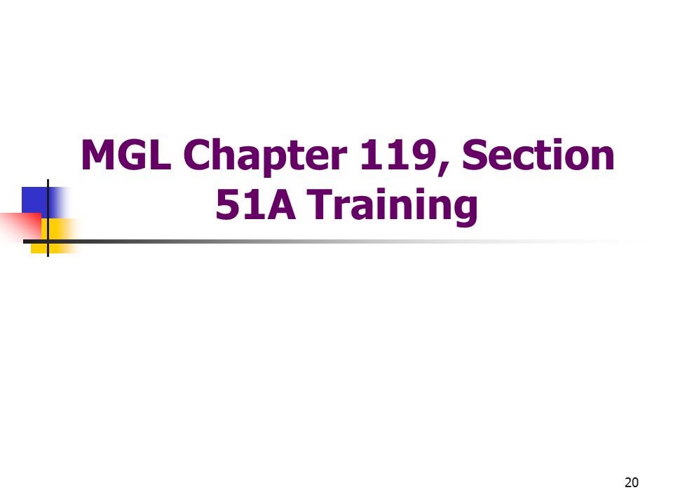 20 MGL Chapter 119, Section 51A Training