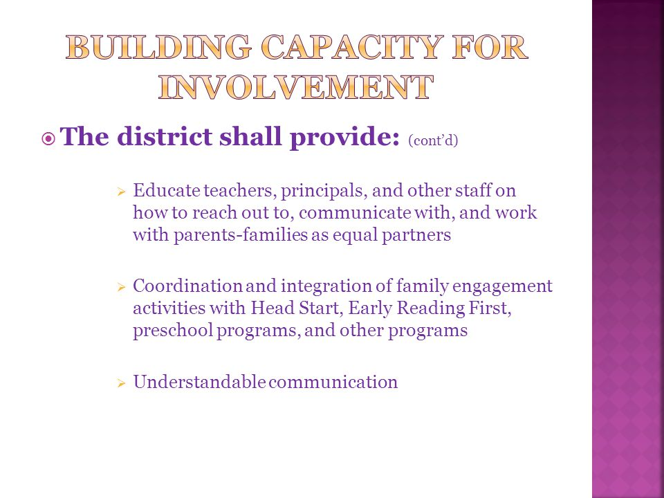  The district shall provide: (cont'd)  Educate teachers, principals, and other staff on how to reach out to, communicate with, and work with parents-families as equal partners  Coordination and integration of family engagement activities with Head Start, Early Reading First, preschool programs, and other programs  Understandable communication