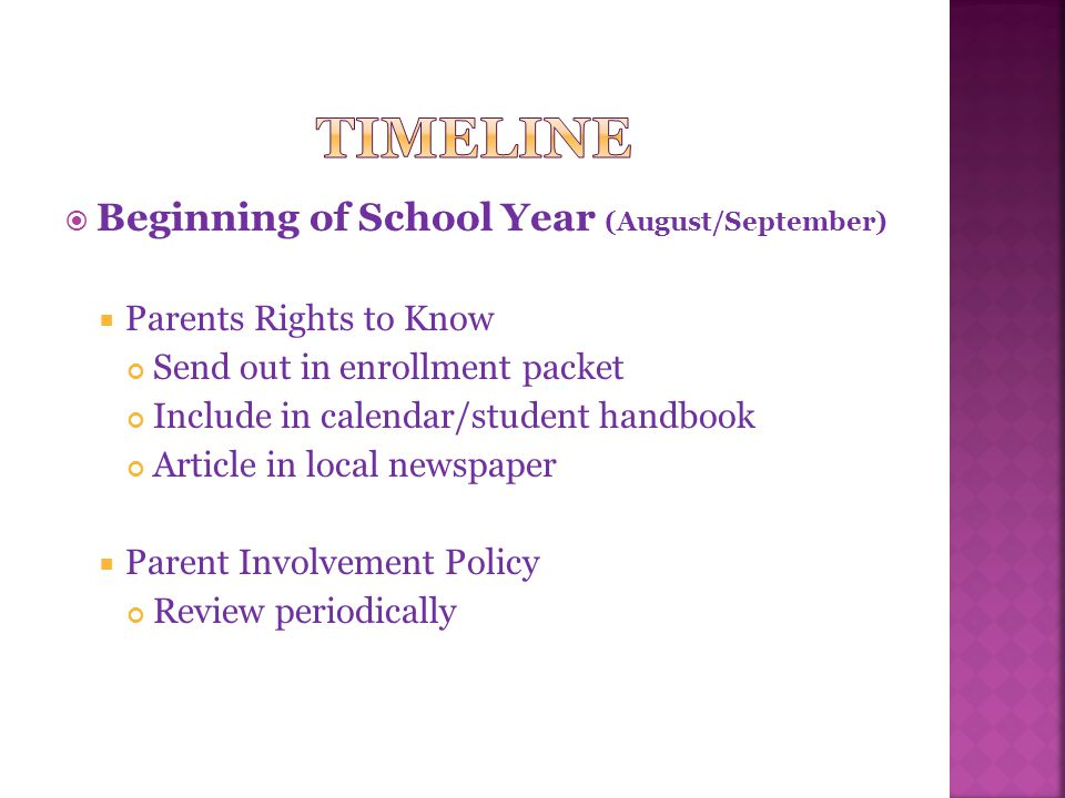  Beginning of School Year (August/September)  Parents Rights to Know Send out in enrollment packet Include in calendar/student handbook Article in local newspaper  Parent Involvement Policy Review periodically