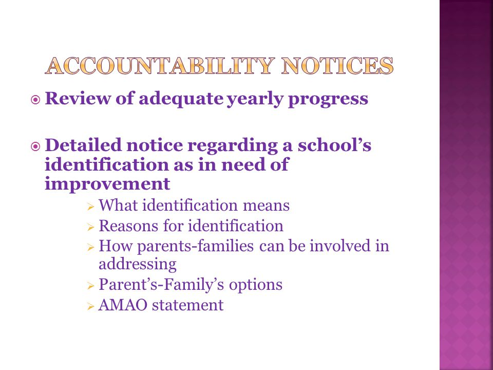  Review of adequate yearly progress  Detailed notice regarding a school's identification as in need of improvement  What identification means  Reasons for identification  How parents-families can be involved in addressing  Parent's-Family's options  AMAO statement