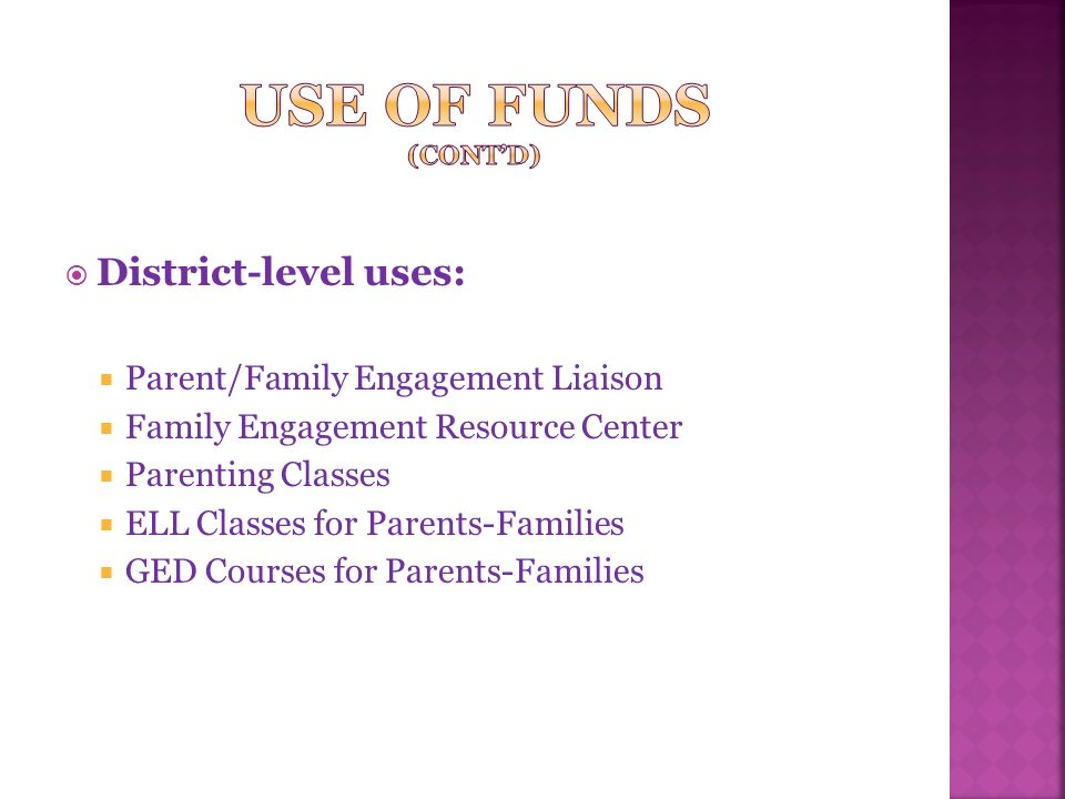  District-level uses:  Parent/Family Engagement Liaison  Family Engagement Resource Center  Parenting Classes  ELL Classes for Parents-Families  GED Courses for Parents-Families