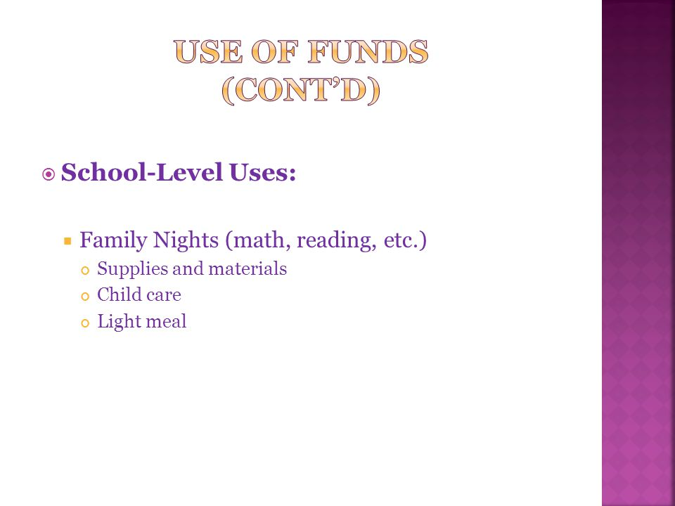  School-Level Uses:  Family Nights (math, reading, etc.) Supplies and materials Child care Light meal