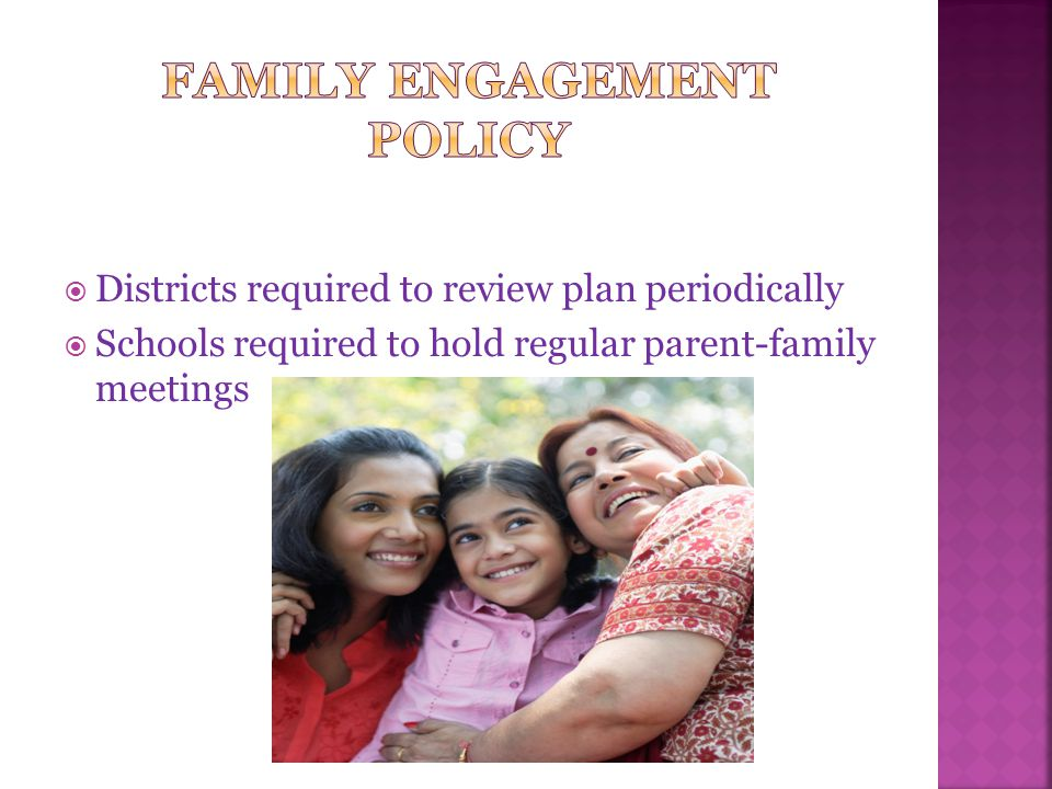  How will the Title I school achieve the following:  Involve parents-families in the planning, review, and improvement of the Title I program (evaluation)  Offer a flexible number of times for family engagement activities  Convene an annual meeting to inform parents- families about Title I