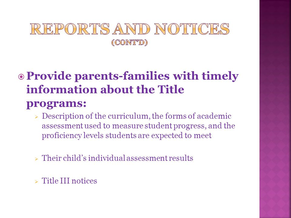 in an understandable and uniform format in a language the parents-family can understand
