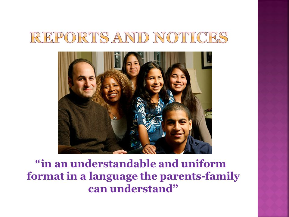  Notice to parents-families  Child is eligible for ESOL and/or Title III services.