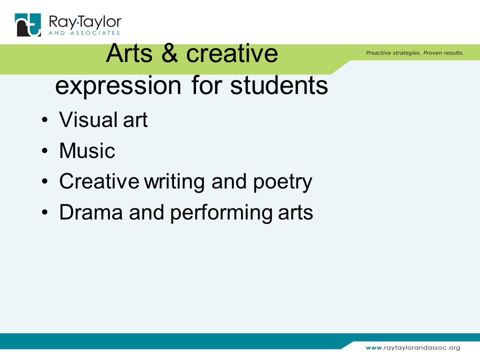 Arts & creative expression for students Visual art Music Creative writing and poetry Drama and performing arts