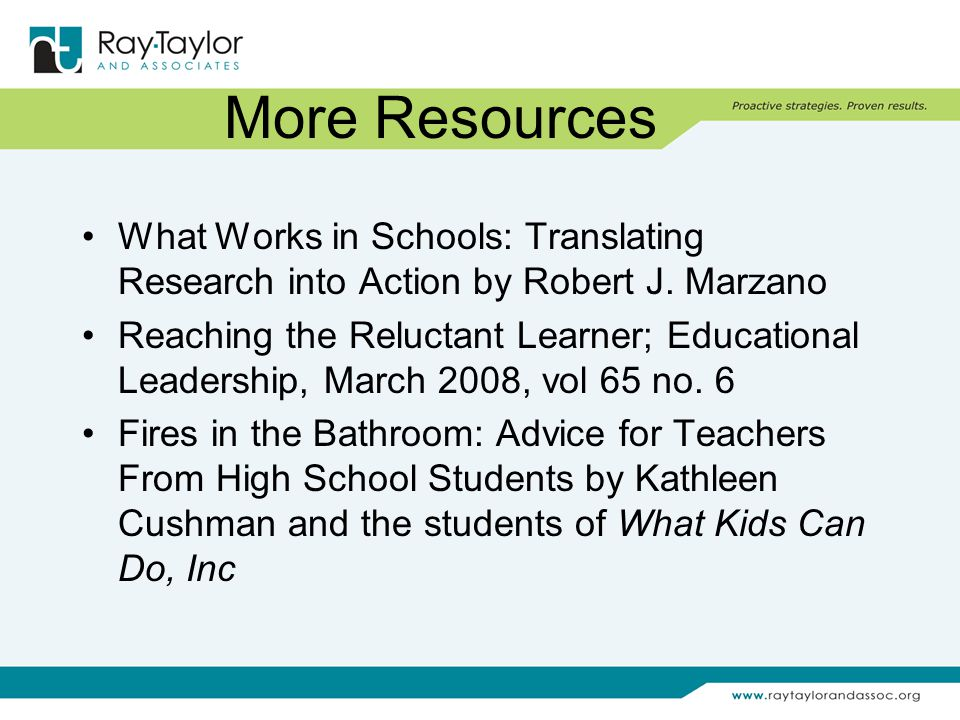 More Resources What Works in Schools: Translating Research into Action by Robert J.