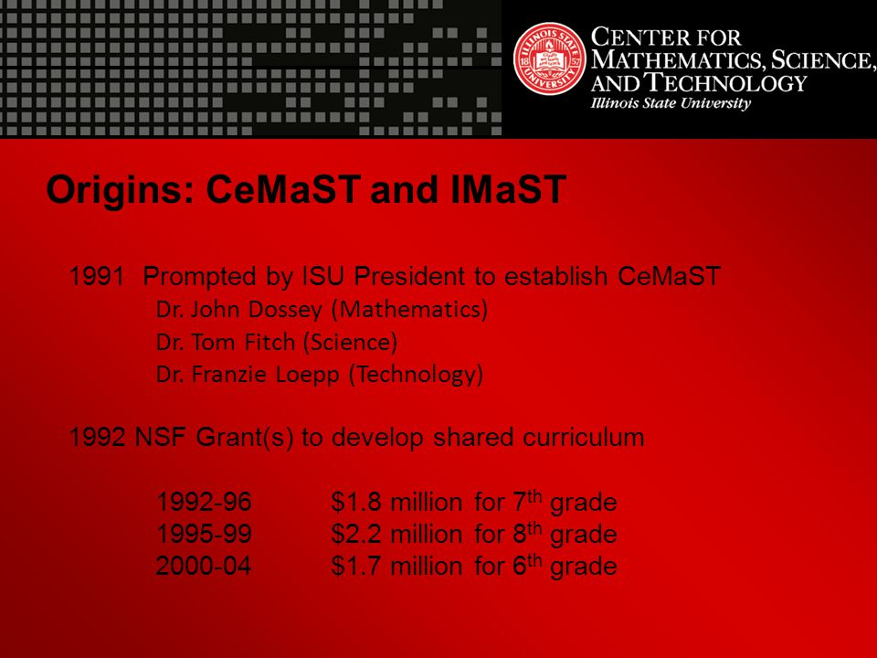 Origins: CeMaST and IMaST 1991 Prompted by ISU President to establish CeMaST Dr. John Dossey (Mathematics) Dr. Tom Fitch (Science) Dr. Franzie Loepp (