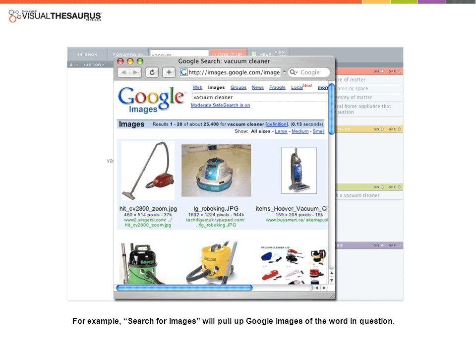 For example, Search for Images will pull up Google Images of the word in question.