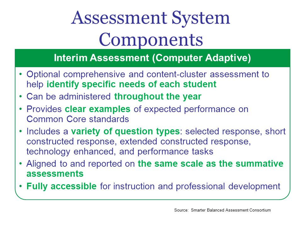 Assessment System Components Interim Assessment (Computer Adaptive) Optional comprehensive and content-cluster assessment to help identify specific needs of each student Can be administered throughout the year Provides clear examples of expected performance on Common Core standards Includes a variety of question types: selected response, short constructed response, extended constructed response, technology enhanced, and performance tasks Aligned to and reported on the same scale as the summative assessments Fully accessible for instruction and professional development Source: Smarter Balanced Assessment Consortium