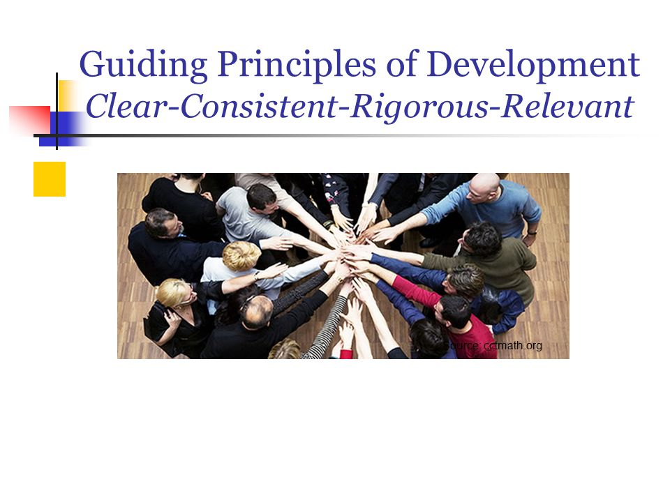 Guiding Principles of Development Clear-Consistent-Rigorous-Relevant Source: cctmath.org