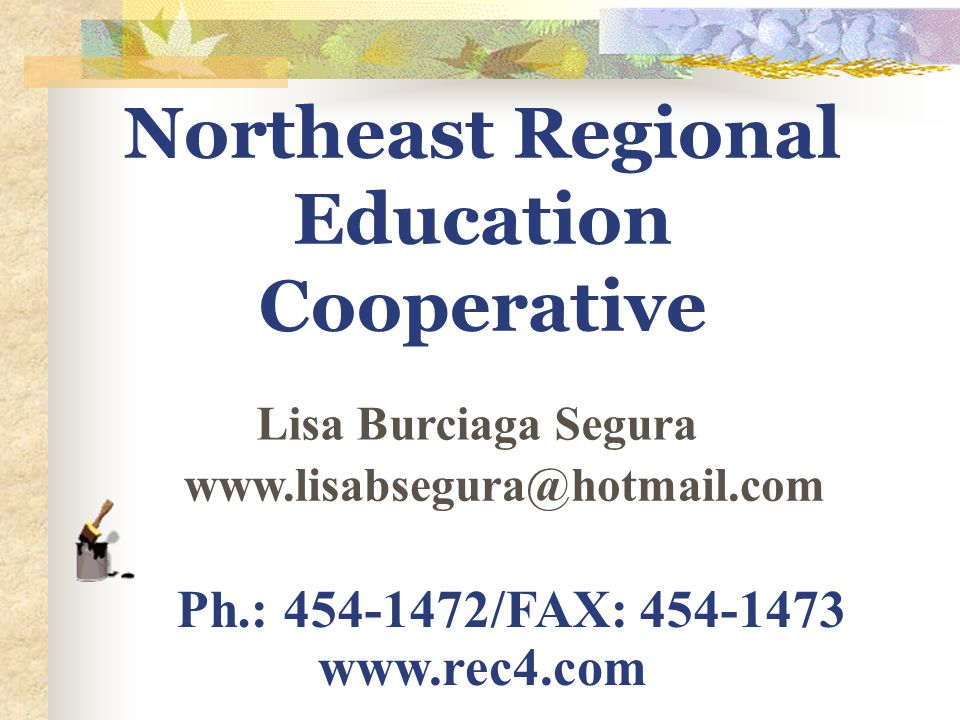 Northeast Regional Education Cooperative Lisa Burciaga Segura Ph.: 454-1472/FAX: 454-1473 www.rec4.com www.lisabsegura@hotmail.com