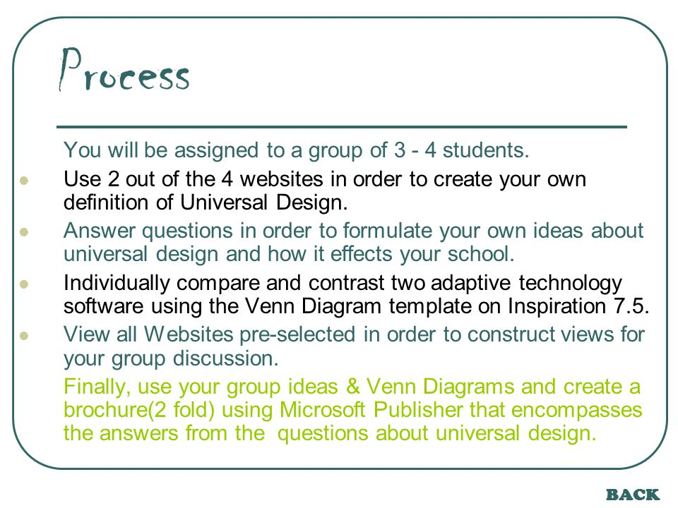 BACK Process (Questions) 1.Are the principles of Universal Design often practiced at your school.