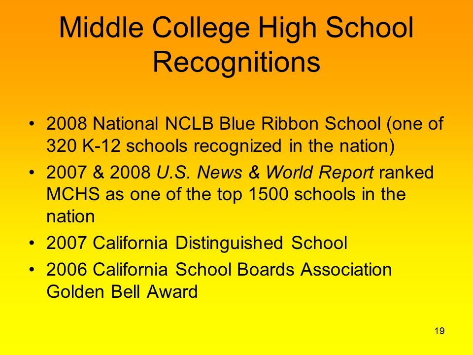 Middle College High School Recognitions 2008 National NCLB Blue Ribbon School (one of 320 K-12 schools recognized in the nation) 2007 & 2008 U.S.