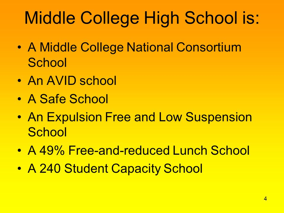 Middle College High School is: A Middle College National Consortium School An AVID school A Safe School An Expulsion Free and Low Suspension School A 49% Free-and-reduced Lunch School A 240 Student Capacity School 4