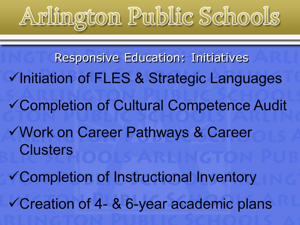 Responsive Education: Initiatives Initiation of FLES & Strategic Languages Completion of Cultural Competence Audit Work on Career Pathways & Career Clusters Completion of Instructional Inventory Creation of 4- & 6-year academic plans