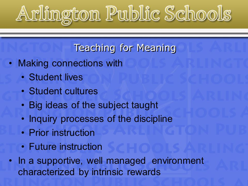 Teaching for Meaning Making connections with Student lives Student cultures Big ideas of the subject taught Inquiry processes of the discipline Prior instruction Future instruction In a supportive, well managed environment characterized by intrinsic rewards
