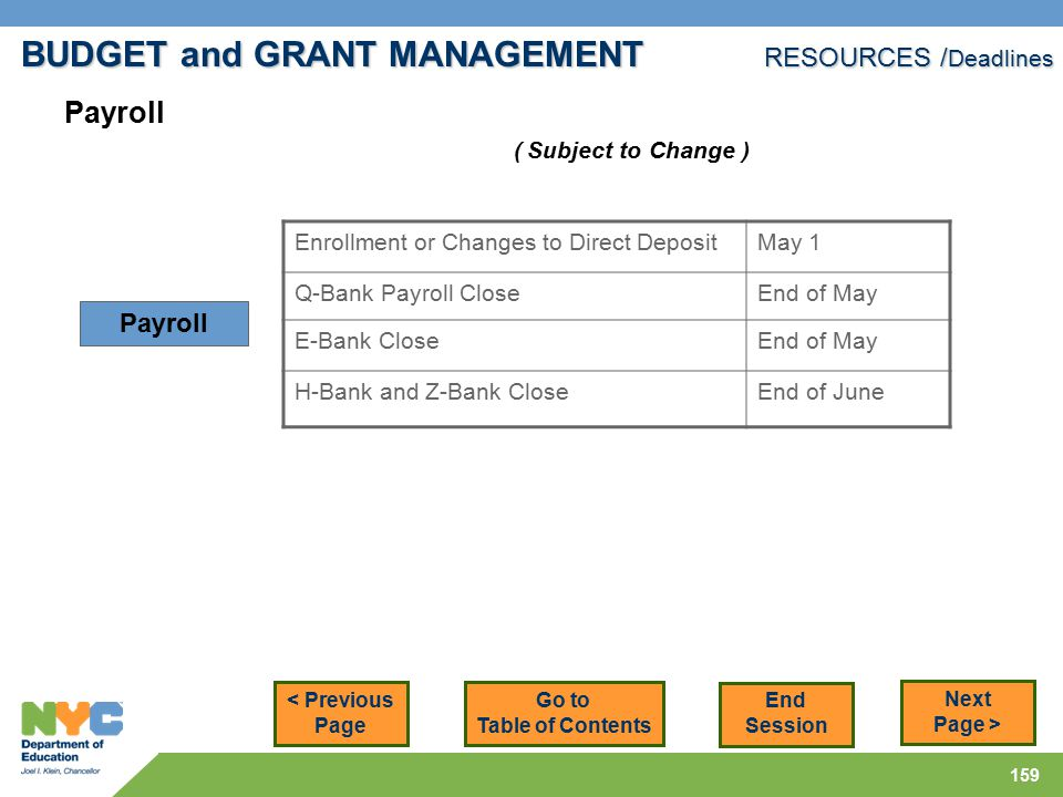 159 < Previous Page Next Page > Enrollment or Changes to Direct DepositMay 1 Q-Bank Payroll CloseEnd of May E-Bank CloseEnd of May H-Bank and Z-Bank CloseEnd of June Payroll ( Subject to Change ) BUDGET and GRANT MANAGEMENT RESOURCES / Deadlines Go to Table of Contents End Session