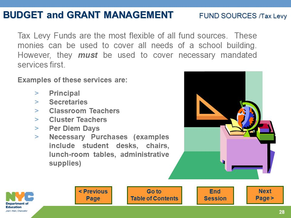 28 BUDGET and GRANT MANAGEMENT FUND SOURCES /Tax Levy < Previous Page Next Page > Tax Levy Funds are the most flexible of all fund sources.