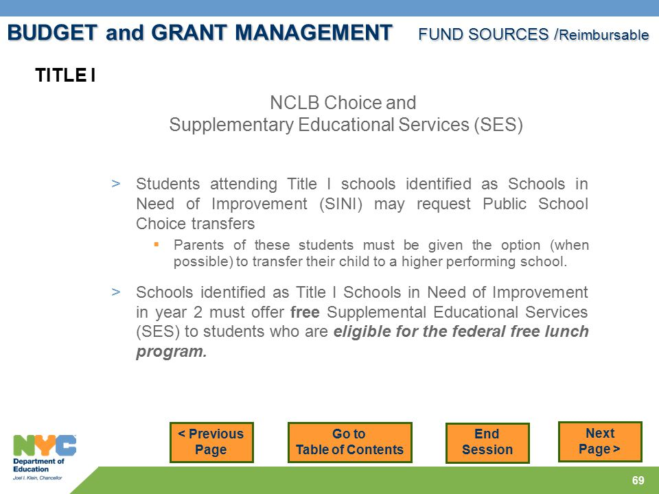 69 < Previous Page Next Page > NCLB Choice and Supplementary Educational Services (SES) TITLE I > Students attending Title I schools identified as Schools in Need of Improvement (SINI) may request Public School Choice transfers  Parents of these students must be given the option (when possible) to transfer their child to a higher performing school.