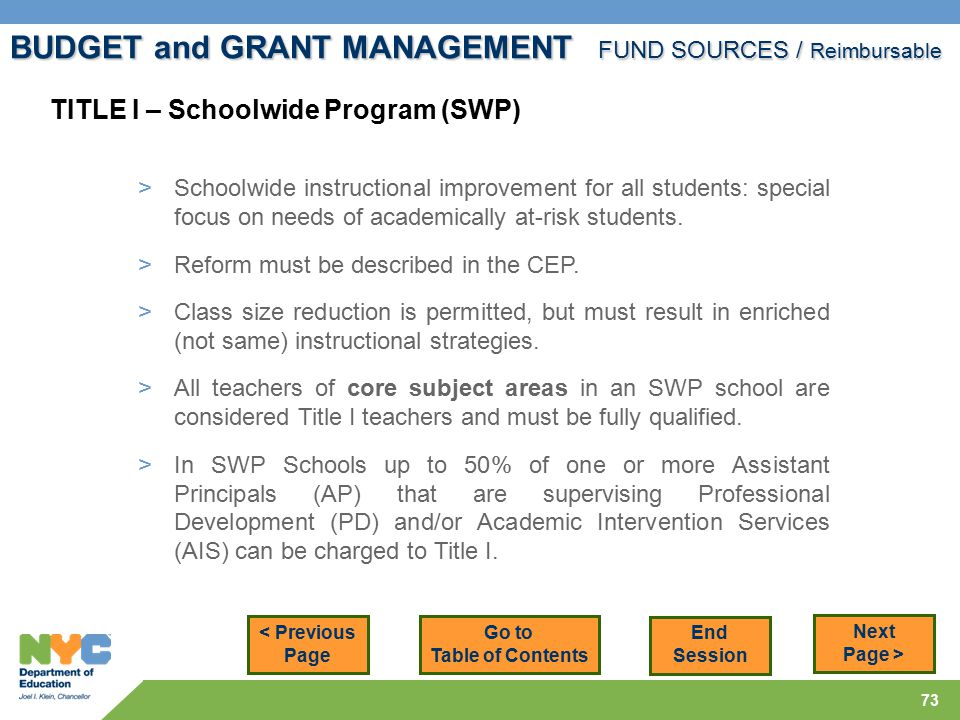 73 < Previous Page Next Page > TITLE I – Schoolwide Program (SWP) > Schoolwide instructional improvement for all students: special focus on needs of academically at-risk students.