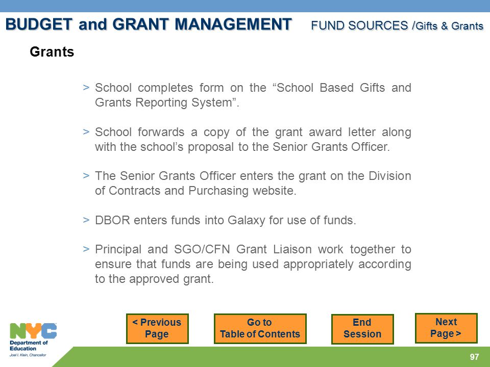 97 < Previous Page Next Page > > School completes form on the School Based Gifts and Grants Reporting System .