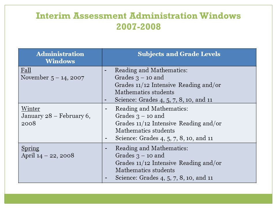 Interim Assessment Administration Windows 2007-2008 Administration Windows Subjects and Grade Levels Fall November 5 – 14, 2007 - Reading and Mathemat