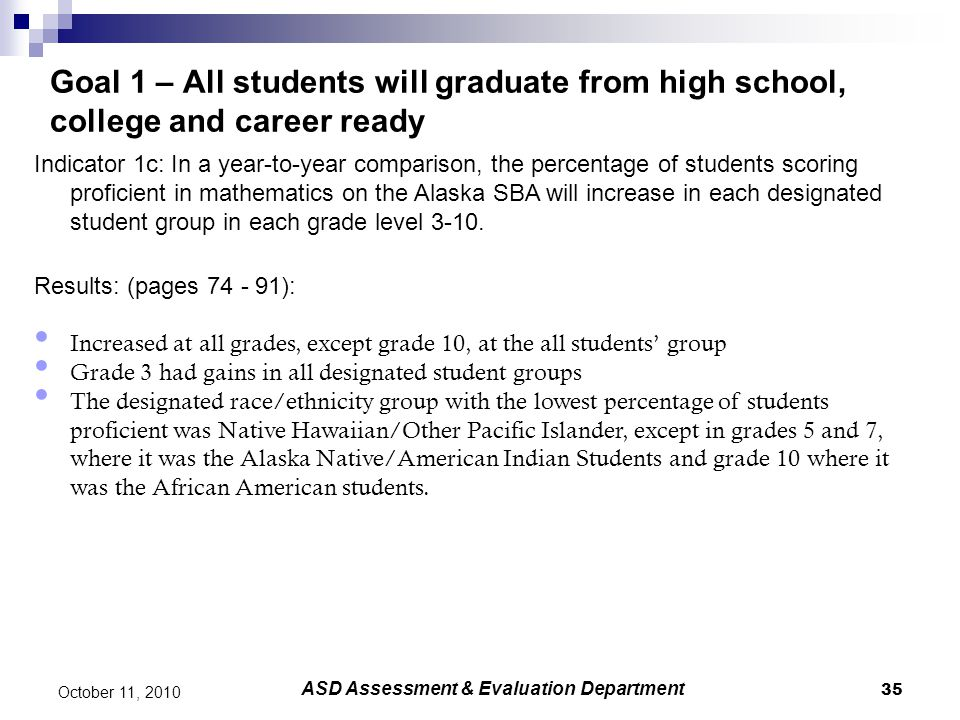 35 October 11, 2010 Goal 1 – All students will graduate from high school, college and career ready Indicator 1c: In a year-to-year comparison, the per