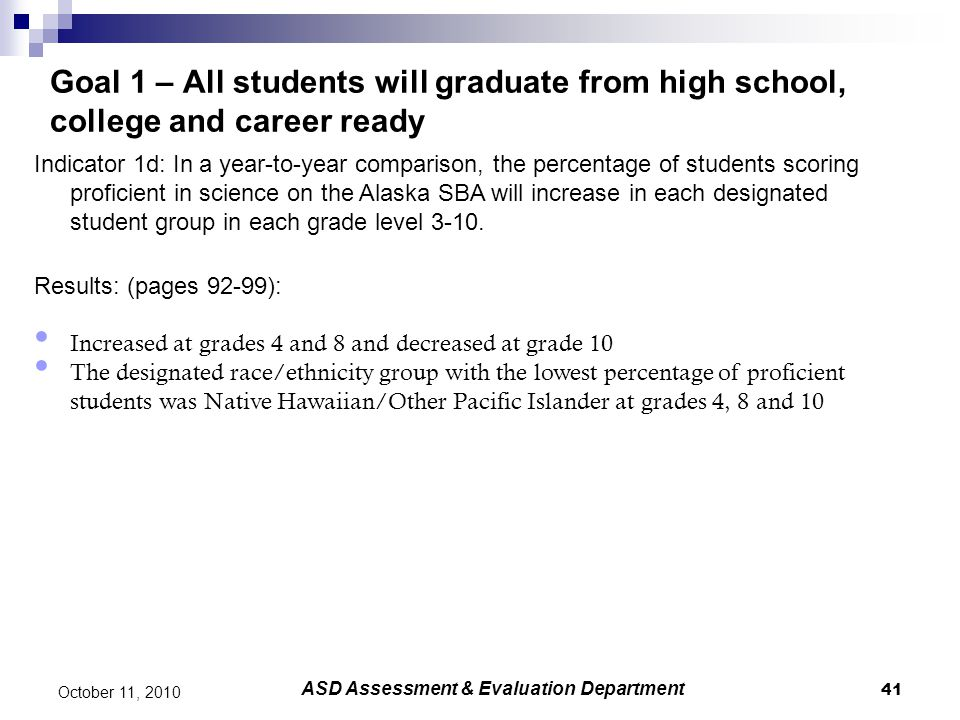 41 October 11, 2010 Goal 1 – All students will graduate from high school, college and career ready Indicator 1d: In a year-to-year comparison, the per