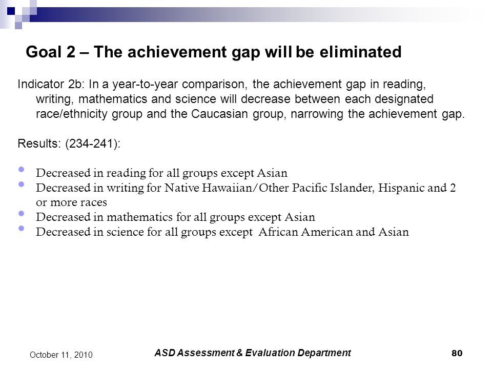 80 October 11, 2010 Goal 2 – The achievement gap will be eliminated Indicator 2b: In a year-to-year comparison, the achievement gap in reading, writin