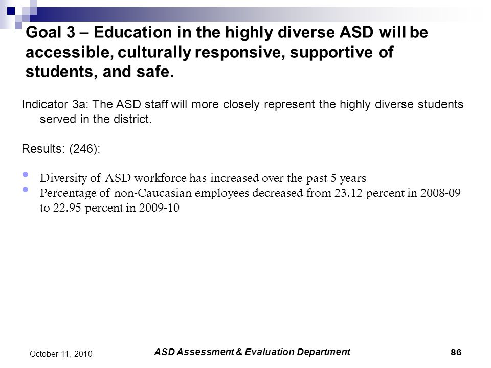 86 October 11, 2010 Goal 3 – Education in the highly diverse ASD will be accessible, culturally responsive, supportive of students, and safe. Indicato