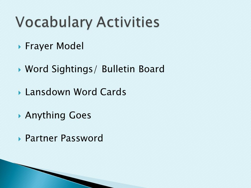  Frayer Model  Word Sightings/ Bulletin Board  Lansdown Word Cards  Anything Goes  Partner Password