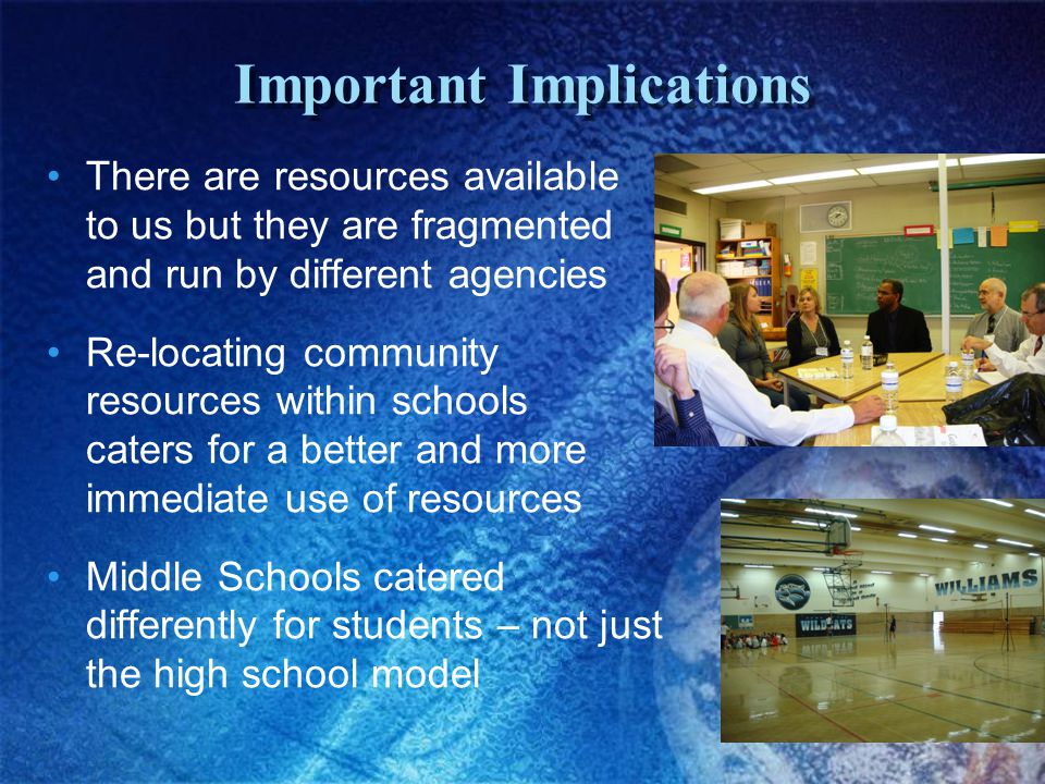 Important Implications There are resources available to us but they are fragmented and run by different agencies Re-locating community resources within schools caters for a better and more immediate use of resources Middle Schools catered differently for students – not just the high school model