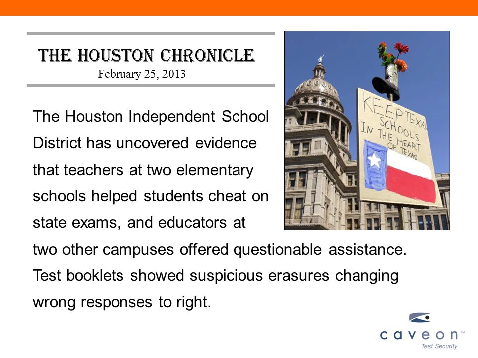 The Houston Independent School District has uncovered evidence that teachers at two elementary schools helped students cheat on state exams, and educa