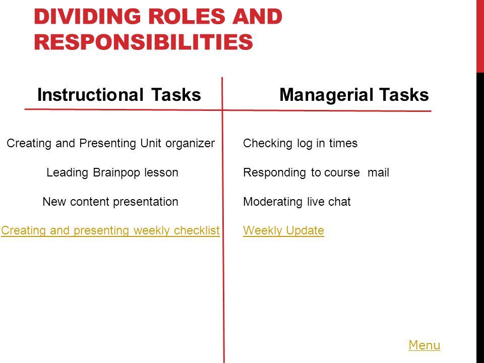 Menu PLAN AROUND…. Patterns Time Tasks 10 Minute Co-Planning