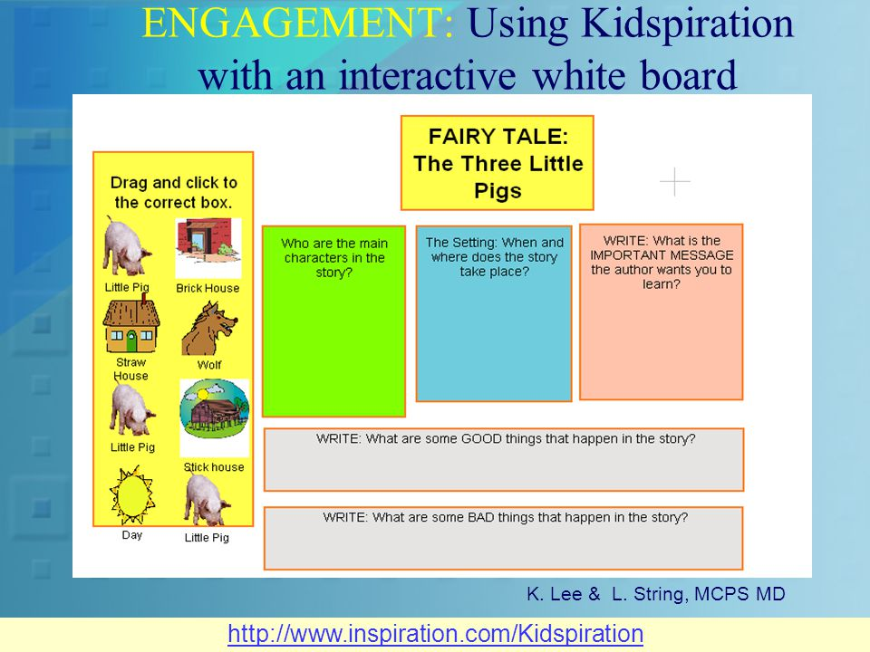 ENGAGEMENT: Using Kidspiration with an interactive white board K.