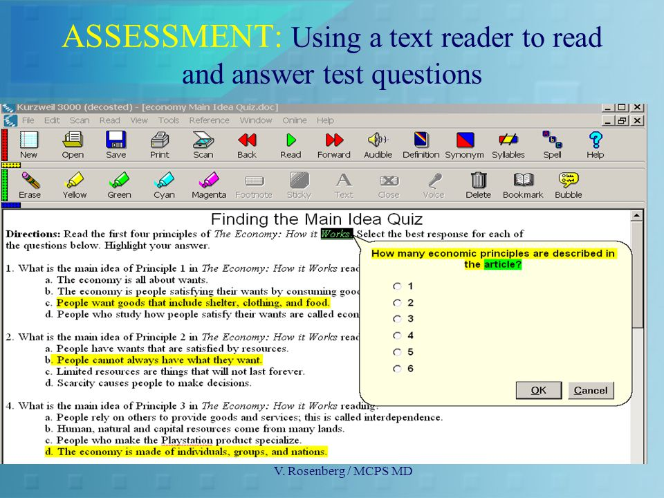 V. Rosenberg / MCPS MD ASSESSMENT: Using a text reader to read and answer test questions
